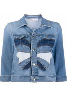 Redvalentino Jaqueta Jeans Com Patchwork De Borboleta - Azul