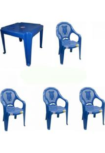 Kit 5 Conjuntos Mesa Com 4 Cadeiras Azul Poltrona Antares