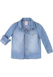 Camisa Jeans Bebê Menino Em Lavação Clara Com Patch Hering Kids