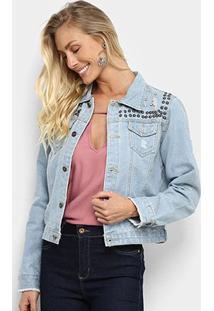 Jaqueta Jeans Bellina Tachas Puídos Feminina - Feminino-Azul Claro