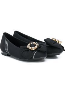 Dolce & Gabbana Kids Bow Detail Ballerinas - Preto