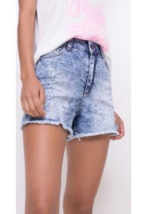 Short Cintura Alta Marmorizado Em Jeans