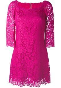 Dolce & Gabbana Vestido Com Renda Floral - Pink & Purple
