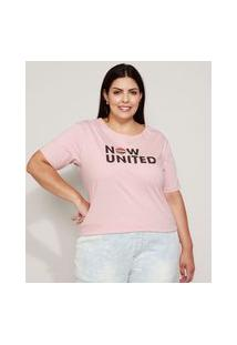 Camiseta Feminina Plus Size Now United Manga Curta Decote Redondo Rosê
