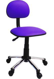 Cadeira De Escritório Secretária Giratória Direction Cromada E Roxa