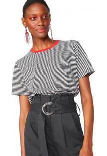 Camiseta Amaro Gola Contraste Feminina - Feminino