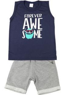 Conjunto Infantil Menino Meia Malha E Moletom Fleece Forever Awesome - Marinho 3