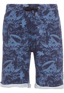 Bermuda Masculina Folhagem - Azul