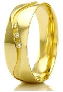 Aliança De Casamento Feminina Em Ouro 18K 750 Wm Joias 5,7Mm Com Zircônia F2297 - Feminino-Dourado