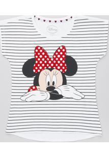 Blusa Infantil Minnie Listrada Manga Curta Off White