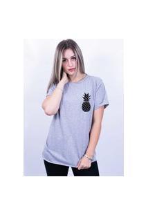 Camiseta Bilhan Corte A Fio Abacaxi Pqn Cinza