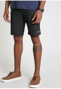 Bermuda Masculina Reta Com Bolsos Cinza Mescla Escuro