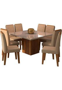 Conjunto De Mesa Com 8 Cadeiras Para Sala De Jantar 130X130 Ana/Tais-Cimol - Savana / Offwhite / Caramelo