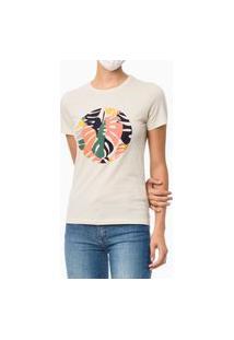 Camiseta Gola Careca Estampa Tropical Areia Calvin Klein