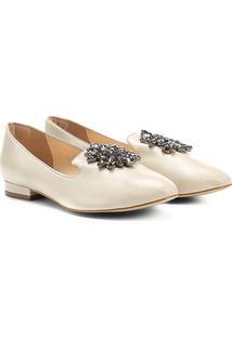 Mocassim Couro Shoestock Slipper Pedraria Feminino - Feminino-Off White