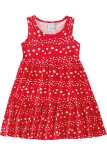Vestido Evasê Com Strass Infantil Malwee Kids Vermelho - 1