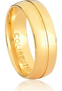 Aliança De Ouro 18K Anatômica Larga Com Friso Polida-Alianças Exclusivas Coliseu(6,00Mm)