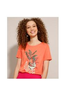 Camiseta De Viscose Com Estampa De Bicho Preguiça Manga Curta Coral