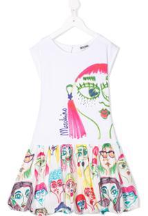 Moschino Kids Vestido Com Estampa De Rosto - Branco