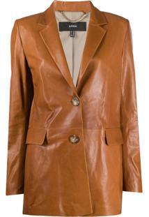 Arma Single-Breasted Leather Jacket - Marrom