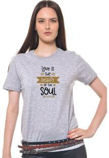 Camiseta Feminina Joss - Love Is The - Feminino-Mescla