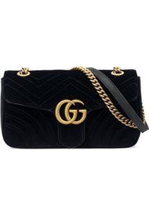25b0dc3e2 Gucci Bolsa 'Gg Marmont Velvet' Pequena - Preto