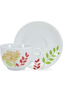 Conjunto 12Pçs De Xícaras De Chá Schmidt Porcelana Maria Branco