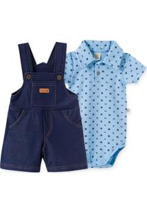 Conjunto Jardineira Curta Cotton Jeans E Body Gola Polo Pingo Lelê Siri Azul
