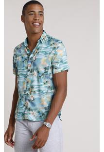 Camisa Masculina Tradicional Estampada De Ilha Manga Curta Verde Água