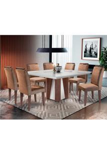 Conjunto De Mesa De Jantar Valença Com Vidro 8 Cadeiras Athenas Suede Chocolate E Off White