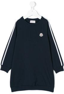 Moncler Kids Vestido Com Logo - Azul