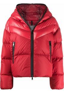 Moncler Contrast Padded Jacket With Logo Detailing - Vermelho