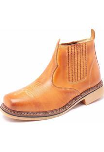 Botina Country Click Calçados Modelo Rural Couro Caramelo