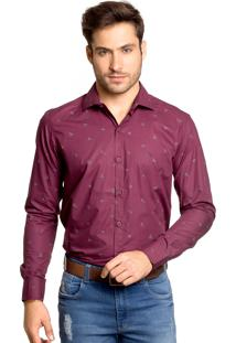Camisa Tony Menswear Origami Slim Bordô