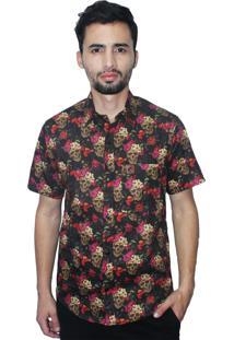Camisa Estampada Camaleão Urbano Caveira Mexicana Floral Preta
