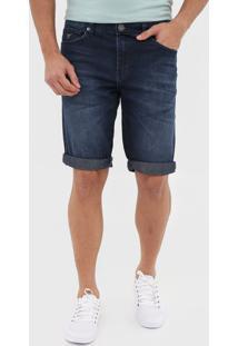 Bermuda Jeans Guess Reta Estonada Azul-Marinho