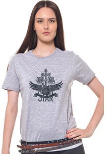 Camiseta Feminina Joss Rock And Roll Cinza Mescla