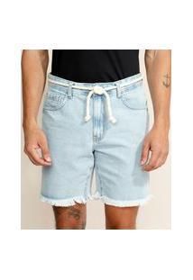 Bermuda Jeans Masculina Reta Com Barra Desfiada E Cordão Azul Claro