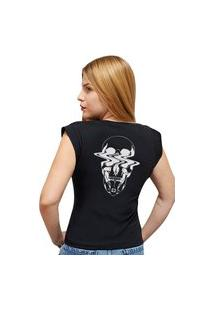 """Camiseta Casual 100% Algodão Estampa """"Caveira Bala"""""""" Avalon Cf01 Preta"""""""