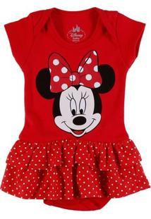 Body Disney Infantil Para Bebê Menina - Vermelho