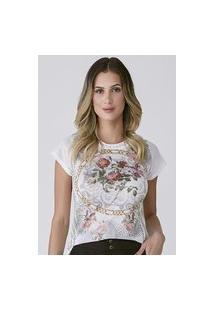 T-Shirt Celestine Estampada Correntes E Flores
