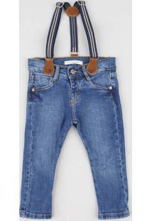 Calça Jeans Infantil Com Suspensório Azul Médio