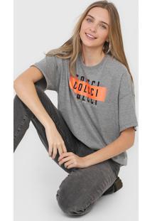 Camiseta Colcci Lettering Neon Cinza