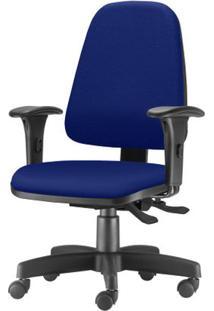 Cadeira Sky Presidente Com Bracos Assento Courino Azul Base Metalica Preta - 54810 Sun House
