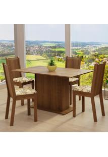 Conjunto Sala De Jantar Madesa Luana Mesa Tampo De Madeira Com 4 Cadeiras - Rustic/Lírio Bege Marrom