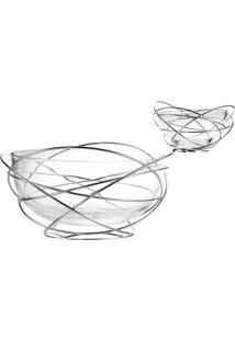 Saladeira Potenza Com Dois Vidros Prata Riva