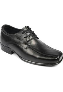 Sapato Social Infantil Couro Bico Fino Conforto Masculino - Masculino-Preto