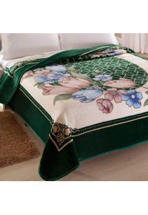 Cobertor Casal Kyor Plus Toulon 1 Peça Microfibra Jolitex Verde