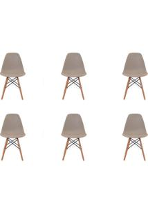 Kit 6 Peças Cadeira Eames Eiffel Rivatti Sem Braço Pp Base Madeira Nude