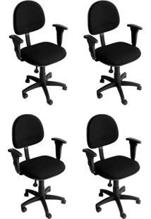 Conjunto 4 Cadeiras De Escritório Diretor Giratória Executiva Preto